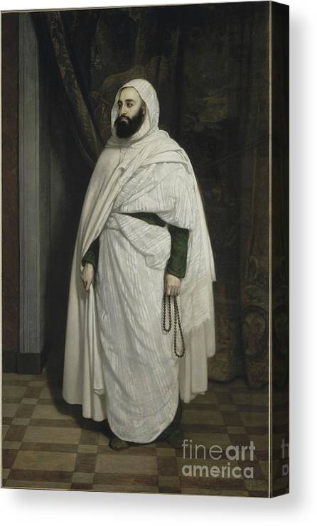 Oil Painting Canvas Print featuring the drawing Portrait Of Abdelkader Ibn Muhieddine by Heritage Images