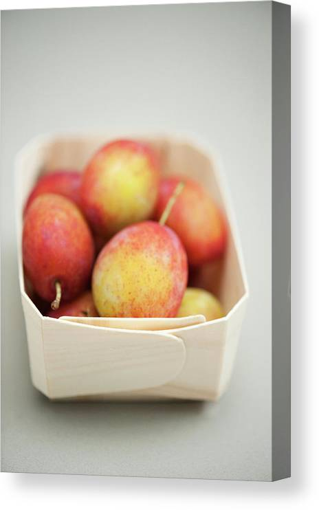 Plum Canvas Print featuring the photograph Punnet Of Victoria Plums by Diana Miller