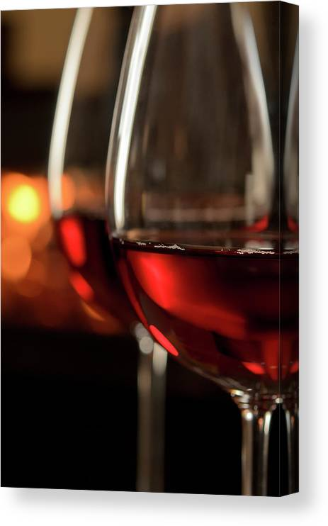 Orange Color Canvas Print featuring the photograph Red Wine By The Fire by Nightanddayimages