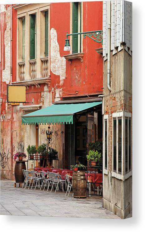 Empty Canvas Print featuring the photograph Restaurant In Venice by Mammuth