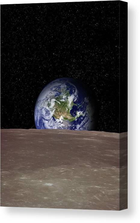 Landscape Canvas Print featuring the photograph Rising Earth Over Moon Surface by Photovideostock