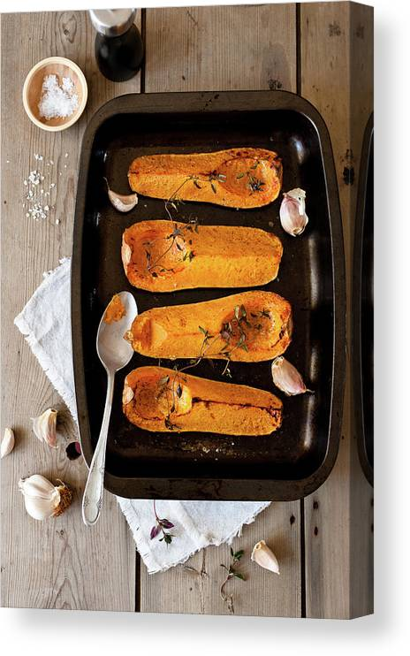 Spoon Canvas Print featuring the photograph Roasted Butternut Squash by Sarka Babicka