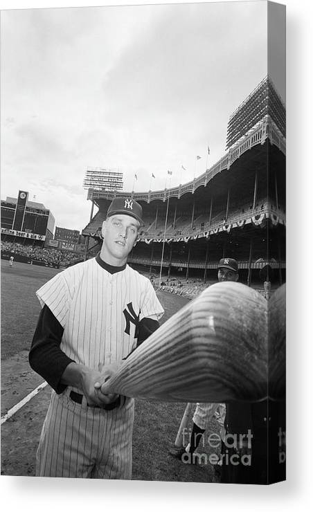 People Canvas Print featuring the photograph Roger Maris And His Bat, 1961 by Bettmann
