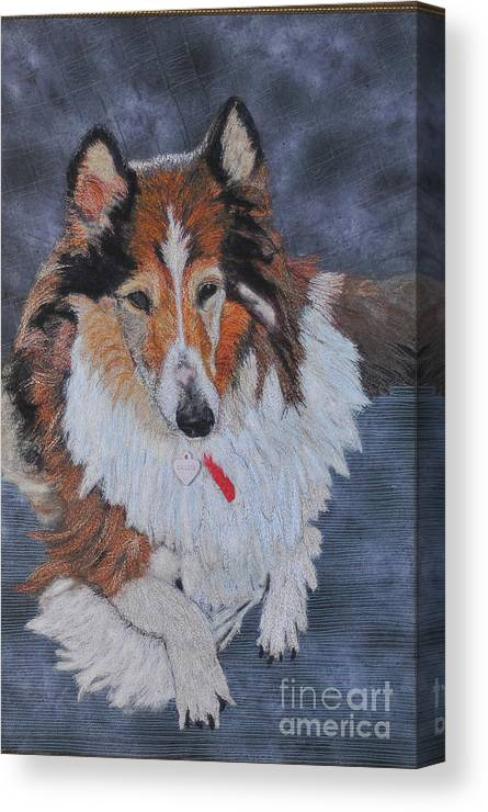 Rough Collie Canvas Print featuring the tapestry - textile rough Collie by Dolores Fegan