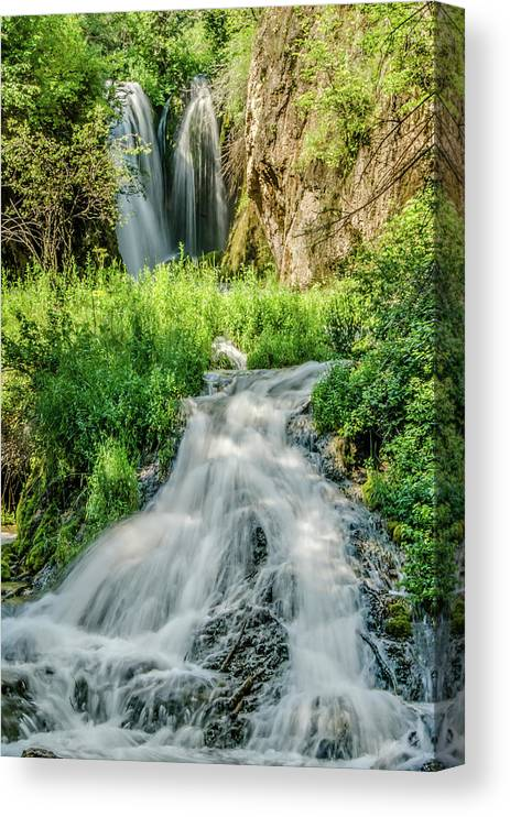 Tranquility Canvas Print featuring the photograph Roughlock Waterfalls In Lead, South by Carl M Christensen