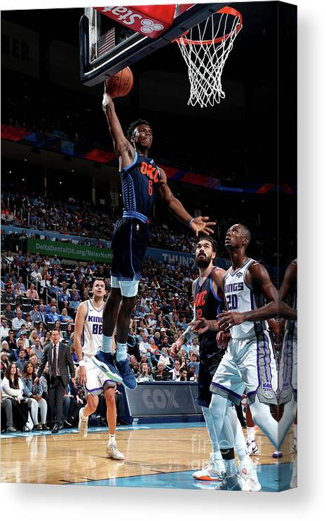 Nba Pro Basketball Canvas Print featuring the photograph Sacramento Kings V Oklahoma City Thunder by Joe Murphy