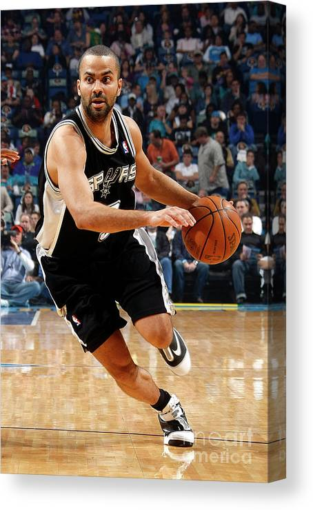 Smoothie King Center Canvas Print featuring the photograph San Antonio Spurs V New Orleans Hornets by Layne Murdoch