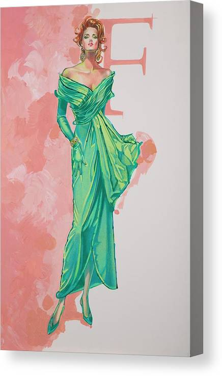 Fashion Illustration Canvas Print featuring the painting Spring Fling by Barbara Tyler Ahlfield