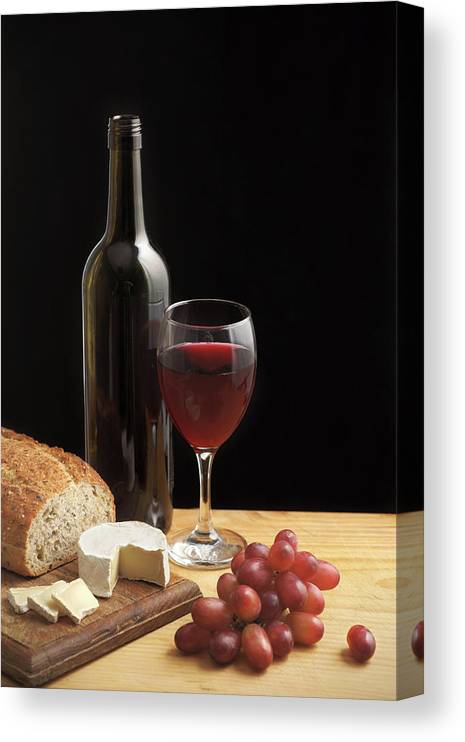 WINE CHEESE GRAPES FOOD KITCHEN MOUNTED CANVAS PRINT WALL ART PICTURE PHOTO