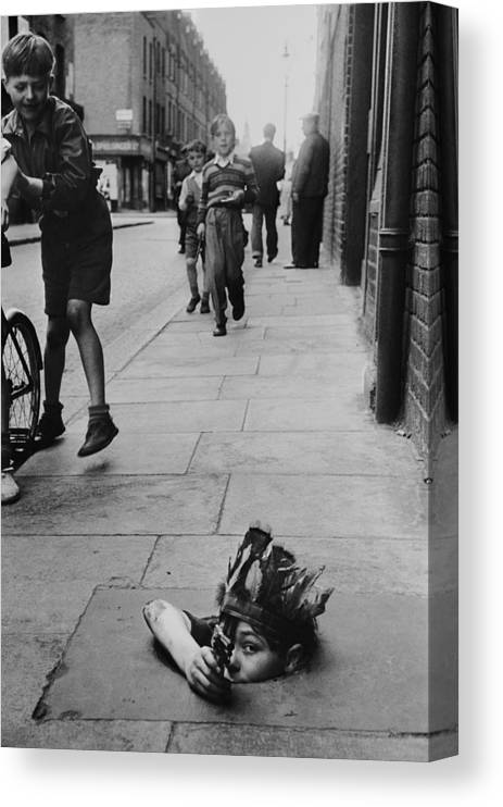 Child Canvas Print featuring the photograph Street Games by Thurston Hopkins
