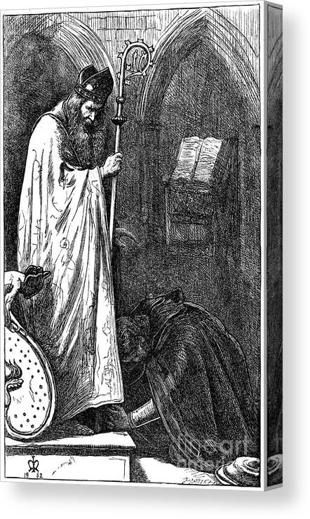 Pre-raphaelite Canvas Print featuring the drawing The Bishop And The Knight, 1862. Artist by Print Collector
