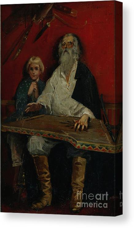 Oil Painting Canvas Print featuring the drawing The Gusli Player. Artist Ryabushkin by Heritage Images