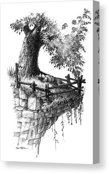 Trust. Sleeping In Peace. Tree And Cliff. Fence. On The Edge. Resting In Peace. Trust Illustration. Sleeping In Peace Illustration. Tree And Cliff Illustration. Fence Illustration. On The Edge Illustration. Resting In Peace Illustration. Canvas Print featuring the drawing Trust by Dan Nelson