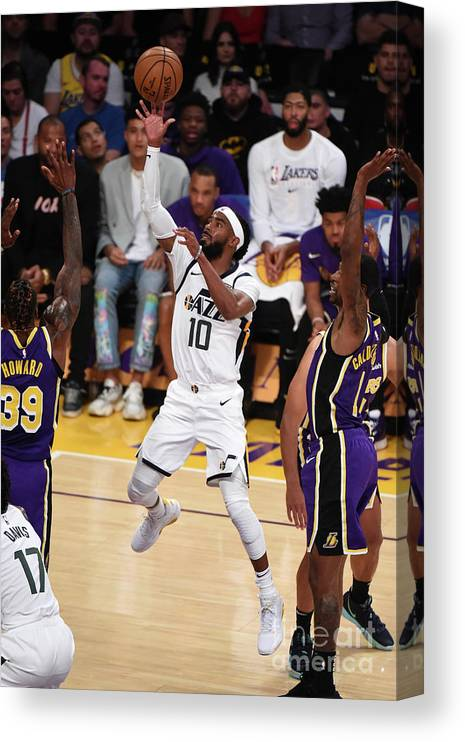 Nba Pro Basketball Canvas Print featuring the photograph Utah Jazz V Los Angeles Lakers by Adam Pantozzi