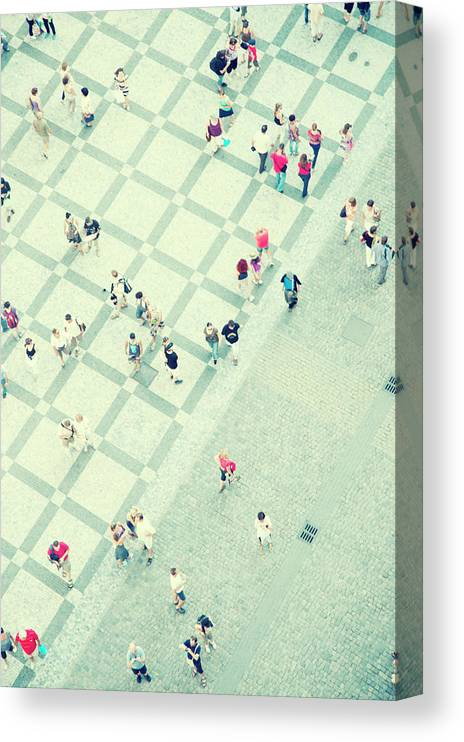 Pedestrian Canvas Print featuring the photograph Walking People by Carlo A