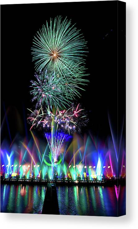 Firework Display Canvas Print featuring the photograph Water Dancing Festival by Taiwan Nans0410