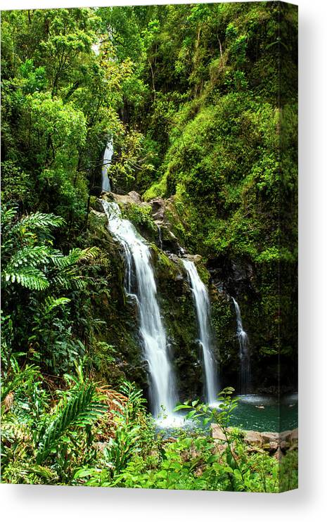 Waterfall 2a Canvas Print featuring the photograph Waterfall 2a by Robert Michaud