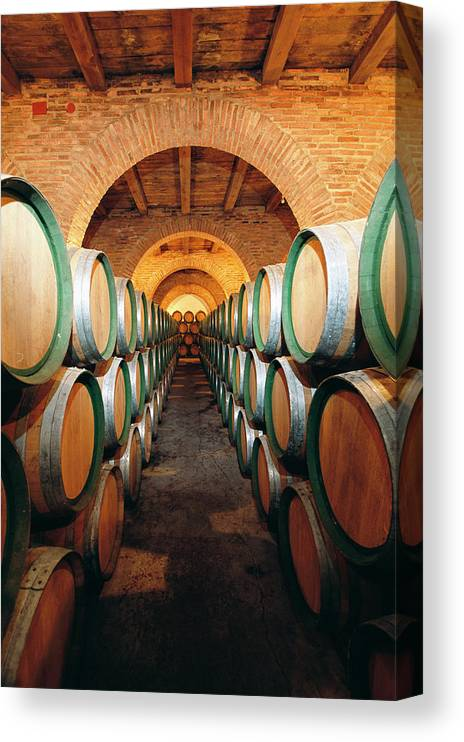 Working Canvas Print featuring the photograph Wine Barrels In Cellar, Spain by Johner Images