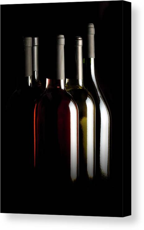 Rose Wine Canvas Print featuring the photograph Wine Bottles by Carlosalvarez