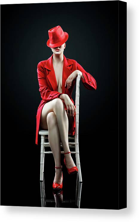 Woman Canvas Print featuring the photograph Woman in red by Johan Swanepoel