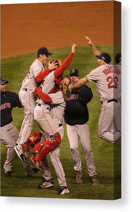Celebration Canvas Print featuring the photograph World Series Boston Red Sox V Colorado by Ron Vesely