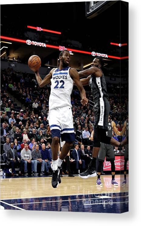 Nba Pro Basketball Canvas Print featuring the photograph Andrew Wiggins by Jordan Johnson
