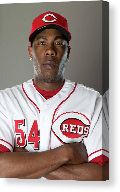 American League Baseball Canvas Print featuring the photograph Aroldis Chapman by Mike Mcginnis