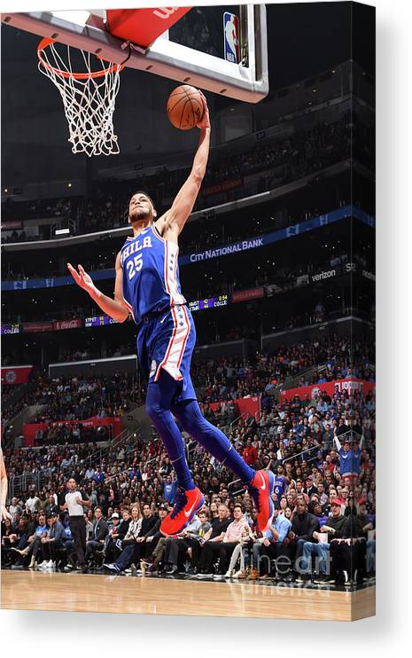 Nba Pro Basketball Canvas Print featuring the photograph Ben Simmons by Andrew D. Bernstein