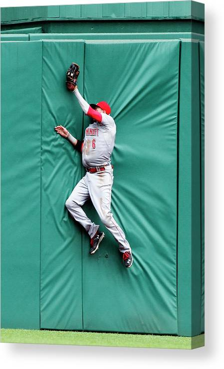 Toughness Canvas Print featuring the photograph Billy Hamilton and Travis Snider by Justin K. Aller