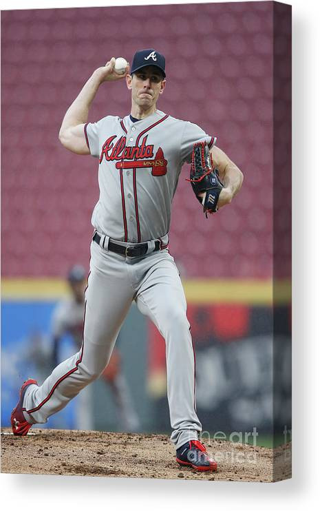 Great American Ball Park Canvas Print featuring the photograph Brandon Mccarthy by Joe Robbins