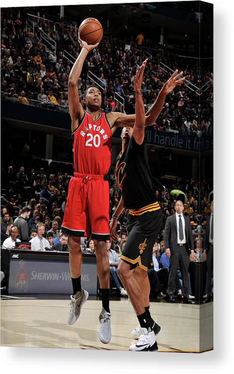 Nba Pro Basketball Canvas Print featuring the photograph Bruno Caboclo by David Liam Kyle