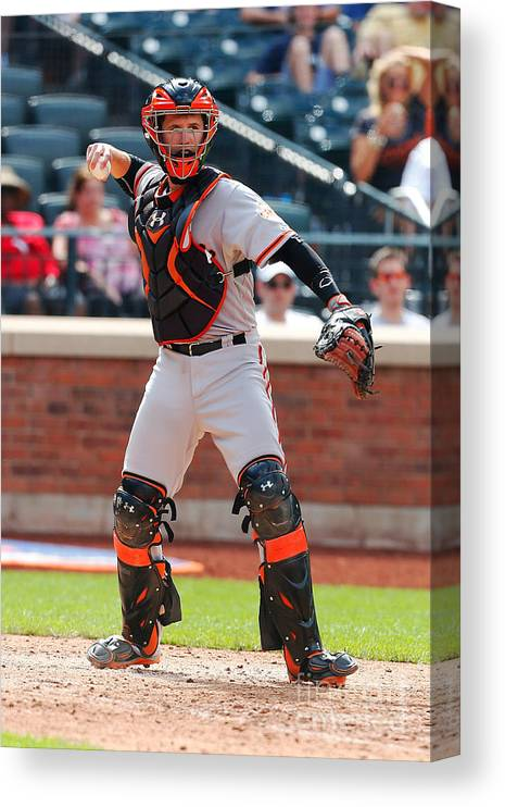 American League Baseball Canvas Print featuring the photograph Buster Posey by Mike Stobe