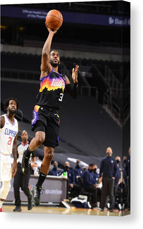Nba Pro Basketball Canvas Print featuring the photograph Chris Paul by Barry Gossage