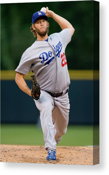 People Canvas Print featuring the photograph Clayton Kershaw by Justin Edmonds