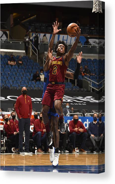 Nba Pro Basketball Canvas Print featuring the photograph Cleveland Cavaliers v Orlando Magic by Gary Bassing