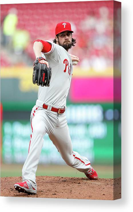 Great American Ball Park Canvas Print featuring the photograph Cole Hamels by Joe Robbins