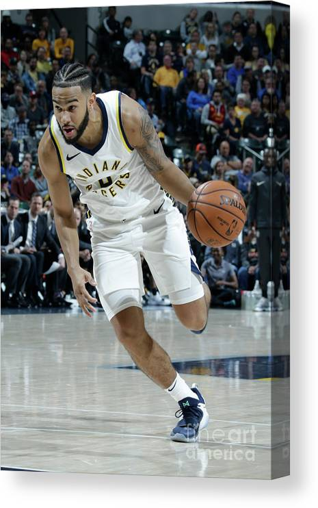 Nba Pro Basketball Canvas Print featuring the photograph Cory Joseph by Ron Hoskins