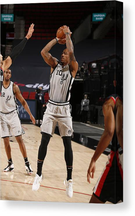 Nba Pro Basketball Canvas Print featuring the photograph Demar Derozan by Cameron Browne