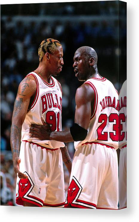 Chicago Bulls Canvas Print featuring the photograph Dennis Rodman and Michael Jordan by Nathaniel S. Butler