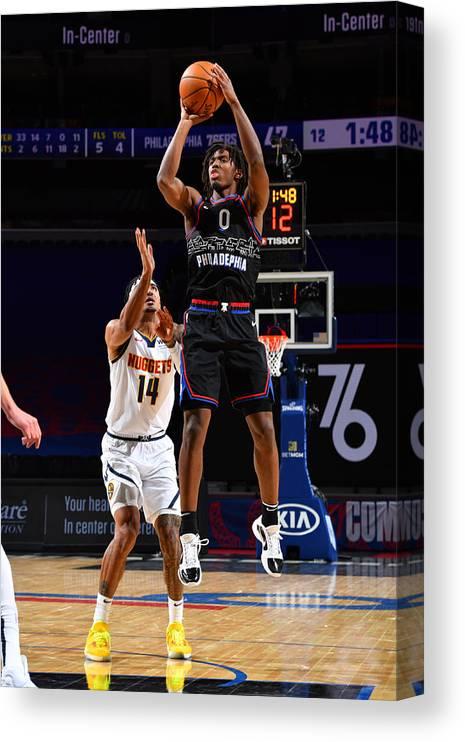 Nba Pro Basketball Canvas Print featuring the photograph Denver Nuggets v Philadelphia 76ers by Jesse D. Garrabrant
