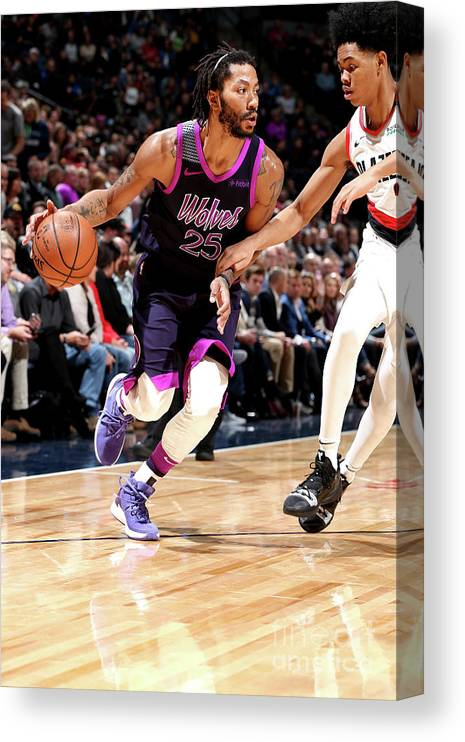 Nba Pro Basketball Canvas Print featuring the photograph Derrick Rose by David Sherman