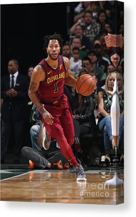 Nba Pro Basketball Canvas Print featuring the photograph Derrick Rose by Gary Dineen