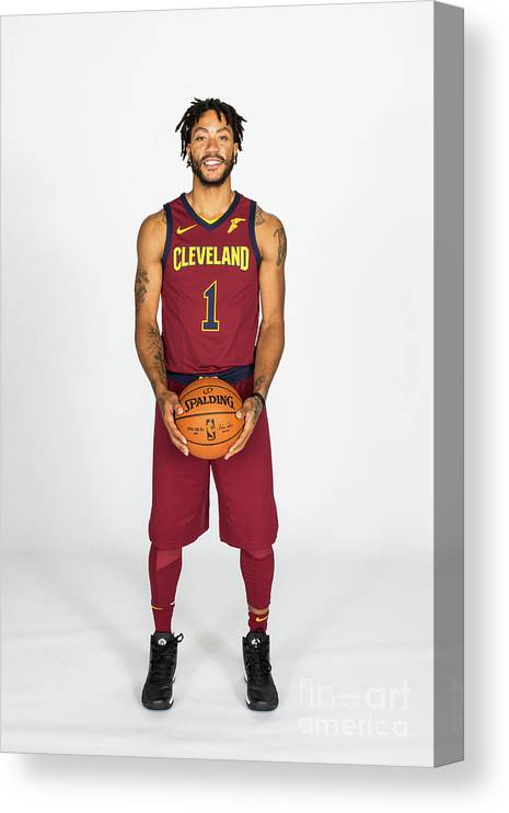 Media Day Canvas Print featuring the photograph Derrick Rose by Michael J. Lebrecht Ii