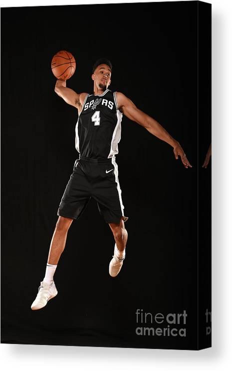 Nba Pro Basketball Canvas Print featuring the photograph Derrick White by Brian Babineau