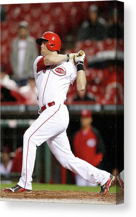 Great American Ball Park Canvas Print featuring the photograph Devin Mesoraco by Joe Robbins