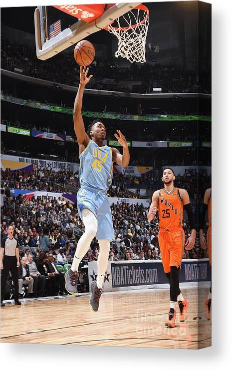 Event Canvas Print featuring the photograph Donovan Mitchell by Andrew D. Bernstein