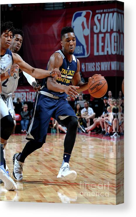 Nba Pro Basketball Canvas Print featuring the photograph Donovan Mitchell by Bart Young