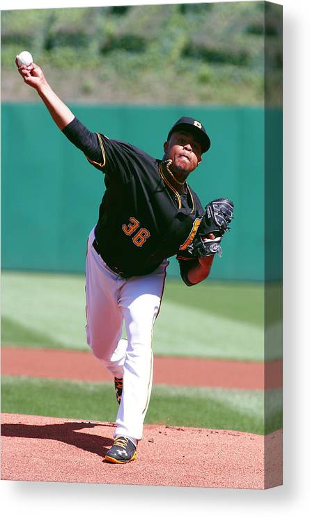 Professional Sport Canvas Print featuring the photograph Edinson Volquez by Justin K. Aller