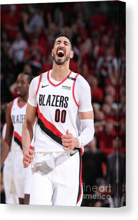 Playoffs Canvas Print featuring the photograph Enes Kanter by Sam Forencich