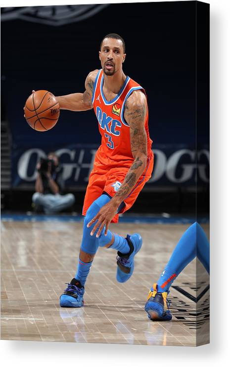 Nba Pro Basketball Canvas Print featuring the photograph George Hill by Zach Beeker